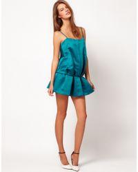 Camilla & Marc - Blue Camilla  Marc Satin Dress with Gathered Hem Line - Lyst