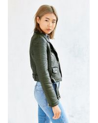 Members Only Green Pebbled Vegan Leather Jacket