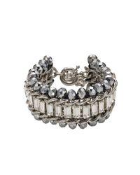 Dyrberg/Kern | Gray Kaiser Grey Crystal Bead Silver Plated Bracelet | Lyst