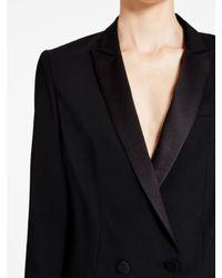 DKNY - Black Dress With Satin Peak Lapel - Lyst