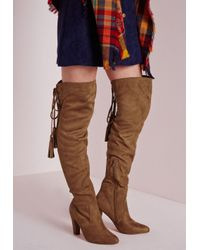 Missguided | Brown Heeled Knee High Tassel Tie Back Boots Tan | Lyst