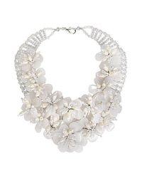 Aeravida | White Floral Lush Clear Quartz Garland Bridal Necklace | Lyst