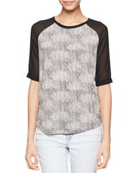 Calvin Klein Jeans | Gray Textured Contrast Blouse | Lyst