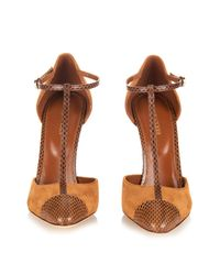 Sergio Rossi - Brown Snakeskin And Suede Pumps - Lyst