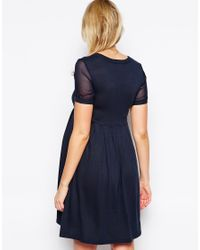 ASOS | Blue Knitted Dress With Chiffon Insert | Lyst