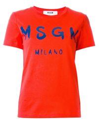 MSGM - Red Logo Print T-shirt - Lyst