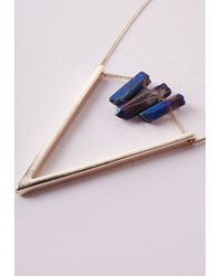 Missguided | Metallic Purple Crystal Triangle Necklace | Lyst