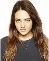 ASOS | Metallic Gold Plated Sterling Silver Half Moon Necklace | Lyst