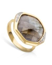 Monica Vinader - Green Riva Diamond Cocktail Ring - Lyst