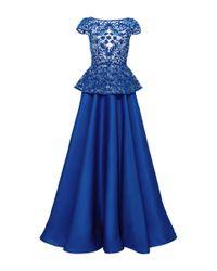 Naeem Khan Blue Floral Embroidered Peplum Ball Gown
