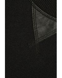 Vince - Black Leather-Trimmed Cotton-Jersey Sweatshirt - Lyst