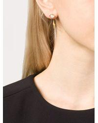 Marie-hélène De Taillac | Metallic 22kt Gold Aquamarine Lightning Bolt Earrings | Lyst