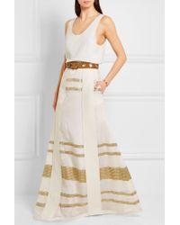 Zeus+Dione White - Leda Paneled Lamé And Silk Crepe De Chine Maxi Skirt - Ivory