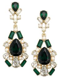 kate spade new york | Gold-Tone Crystal Pearl Green Stone Chandelier Earrings | Lyst