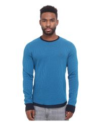 Original Penguin | Blue Reversible Waffle Crew Sweatshirt for Men | Lyst