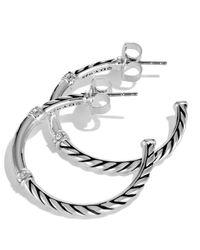 David Yurman Metallic Metro Small Hoop Earrings With Diamonds
