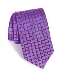Ted Baker Purple 'squared Grid Ii' Silk Tie for men