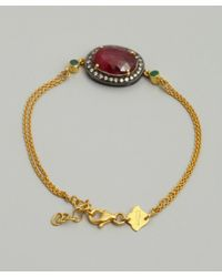 Amrapali - Red Ruby and Emerald Pendant Chain Bracelet - Lyst