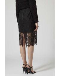 TOPSHOP Black Soft Lace Pencil Skirt