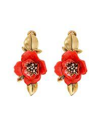 Oscar de la Renta - Red Painted Flower C Earrings - Lyst
