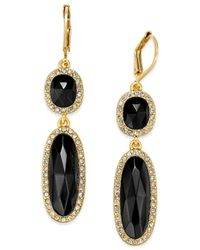 kate spade new york | Metallic 14k Gold-plated Semiprecious Pavé Stone Double Drop Earrings | Lyst