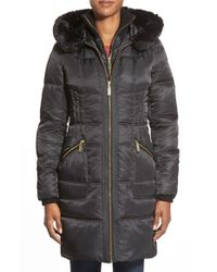 Vince Camuto | Black Bib Front Down & Feather Fill Coat With Faux Fur | Lyst