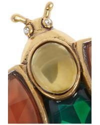Oscar de la Renta Green Goldtone Crystal Brooch