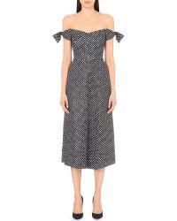 Saloni Black Off-the-shoulder Neoprene Dress