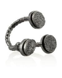 Dara Ettinger Gray Lorie Gunmetal-Plated Agate Ring