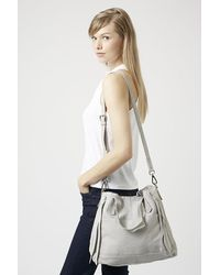 TOPSHOP Gray Slouchy Leather Shoulder Bag