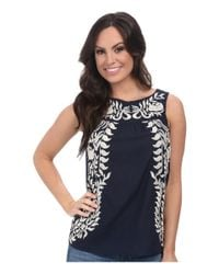 Lucky Brand | Blue Embroidered Shell | Lyst