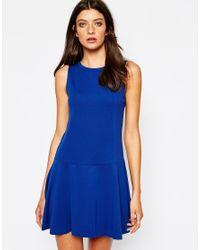 Mango | Blue Sleeveless Flared Ponte Dress | Lyst