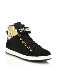 Love Moschino - Black Patched Metallic Leather & Nylon Lace-up Sneakers - Lyst