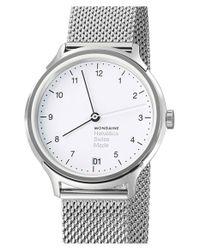 Mondaine - Metallic 'helvetica No.1 Regular' Round Mesh Strap Watch - Lyst