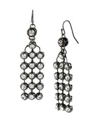 Kenneth Cole | Black Mesh Stone Chandelier Drop Earrings | Lyst