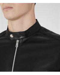 Reiss Black Brooklyn Leather Jacket for men