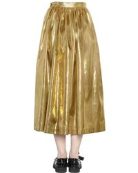 MSGM Metallic Laminated Leather Effect Midi Skirt