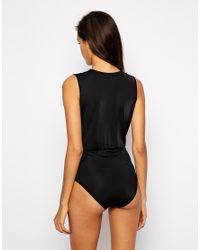 AQ/AQ - Black Blondie Plunge Neck Bodysuit - Lyst