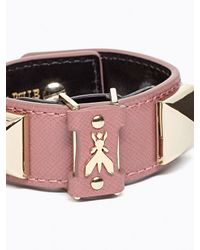 Patrizia Pepe | Pink Costume Jewellery Bracelet In Leather And Studs | Lyst