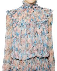 Nina Ricci | Multicolor Silk Chiffon Floral Blouse Shirt | Lyst