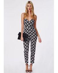 f19e33a1026c Missguided Geometric Print Sweetheart Bandeau Jumpsuit Black in ...