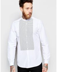 ASOS - White Shirt With Spot Printed Bib In Long Sleeves for Men - Lyst