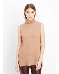 VINCE | Brown Directional Rib Sleeveless Turtleneck Sweater | Lyst