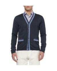 Gucci - Blue Knitted-Silk Cardigan for Men - Lyst
