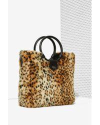 Nila Anthony - Brown Wild Side Faux Fur Bag - Lyst