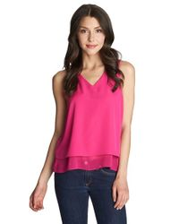 1.STATE | Pink Envelope Back Double Layer Tank | Lyst