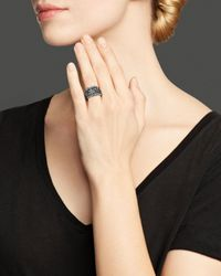 Roberto Coin - Metallic Ruthenium Plated Sterling Silver Stingray Concave Ring - Lyst