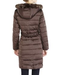 Ellen Tracy - Brown Long Quilted Coat with Fox Fur Ruff - Lyst