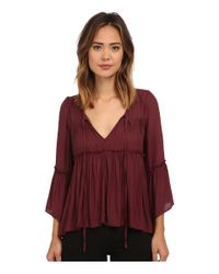 Free People | Red Pebbled Chiffon A Few Of My Favorite Things Blouse | Lyst