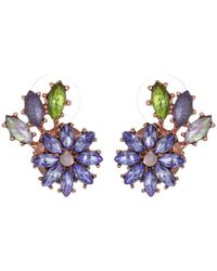 Betsey Johnson | Spring Fling Purple Flower & Leaf Stud Earrings | Lyst